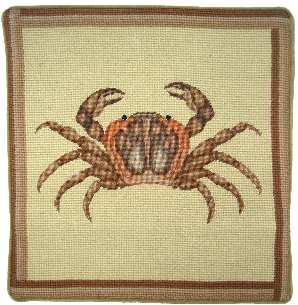 Brown Crab Pettipoint Pillow 13 in.