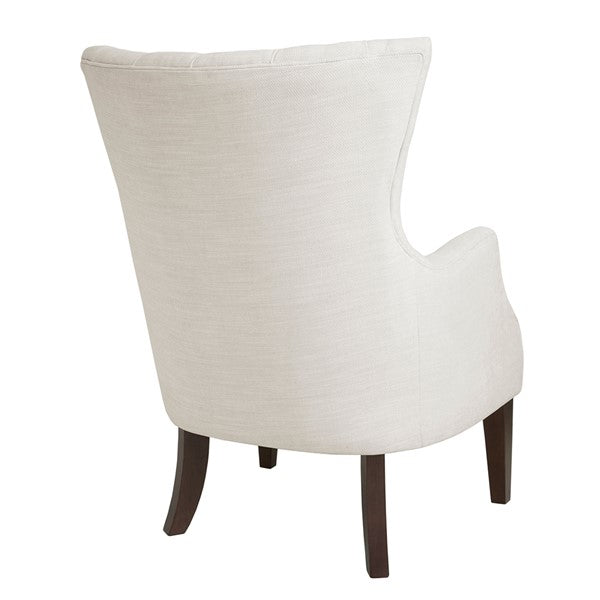 Button Tufted Wing Chair - Ivory