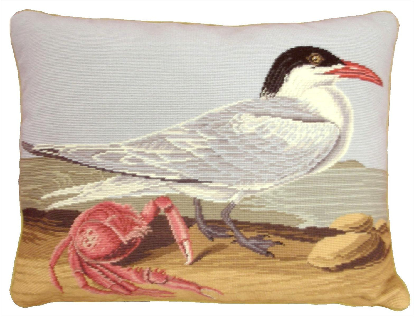 Seagull and Crab Pettipoint Pillow 15 in. x 19 in.