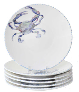 Blue Crab 10 Inch Dinner Plates (Set of 6)