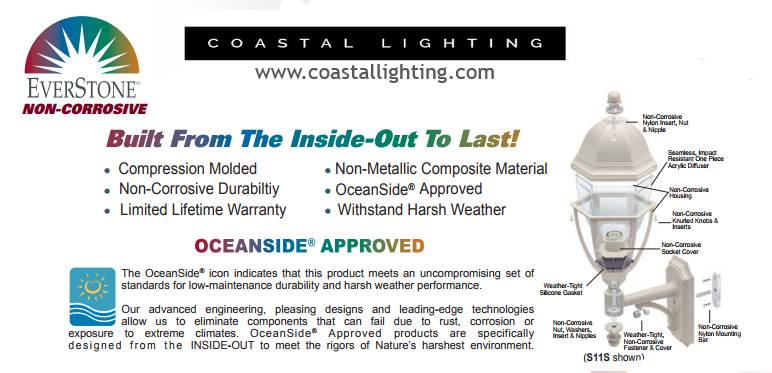 Everstone Non-Corrosive Oceanside Approved Coastal Lighting