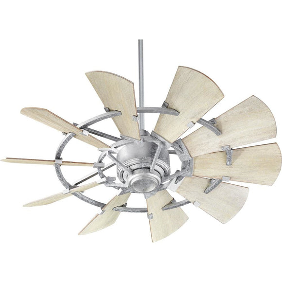 Quorum 44 Windmill Ceiling Fan - Galvanized 94410-9 Coastal Lighting