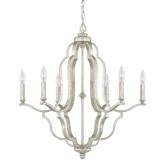 Capital Lighting Blair Six Light Chandelier 4946AS-000 Coastal Lighting