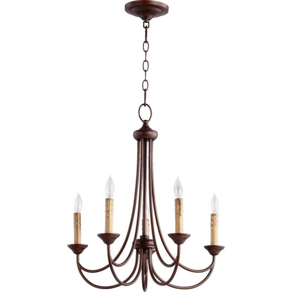 Quorum Brooks 5 Light Chandelier 6250-5-86 Oiled Bronze Coastal Lighting
