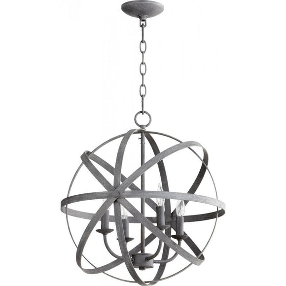 Quorum Celeste 4 Light Chandelier 6009-4-17 Zinc Coastal Lighting