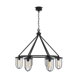 Capital Lighting Corbin Six Light Outdoor Chandelier 934261BK Coastal Lighting