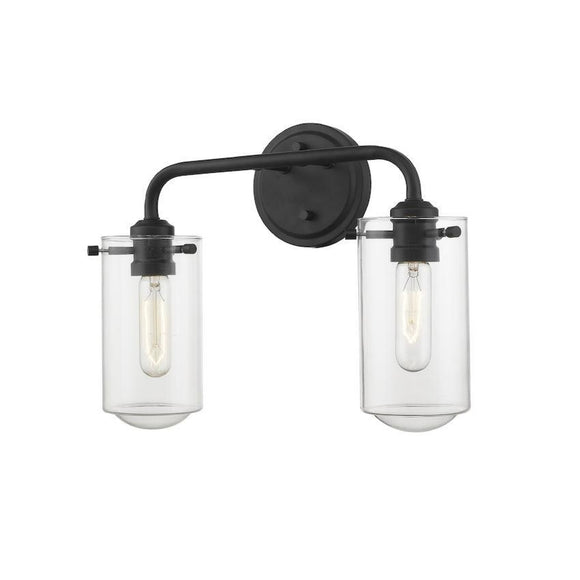 Z-Lite Delaney 2 Light Vanity 471-2V-MB-1 Matte Black Coastal Lighting