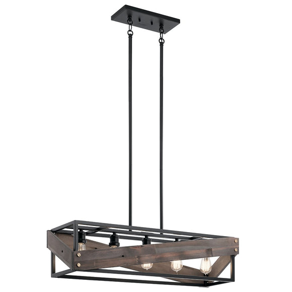 Kichler Fulton Cross Linear Chandelier 44222BK Coastal Lighting