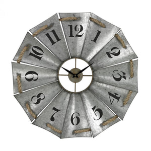 Elk Galvanized Windmill Wall Clock 43P5L Coastal Lighting