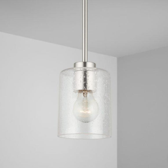 Capital Lighting Greyson 1 Light Pendant - Brushed Nickel 328511BN-449 Coastal Lighting