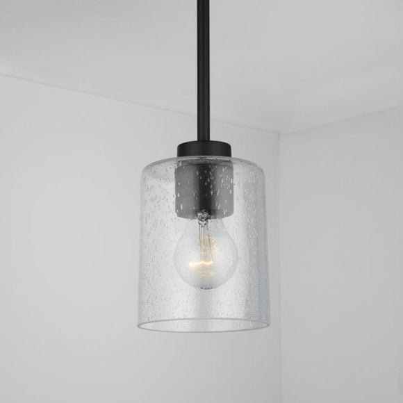 Capital Lighting Greyson 1 Light Pendant - Matte Black 328511MB-449 Coastal Lighting
