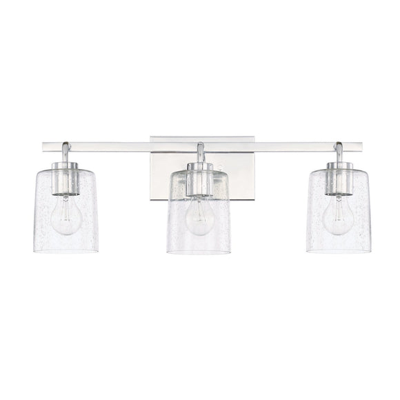 Capital Lighting Greyson Three Light Vanity Fixture 128531CH-449 Coastal Lighting