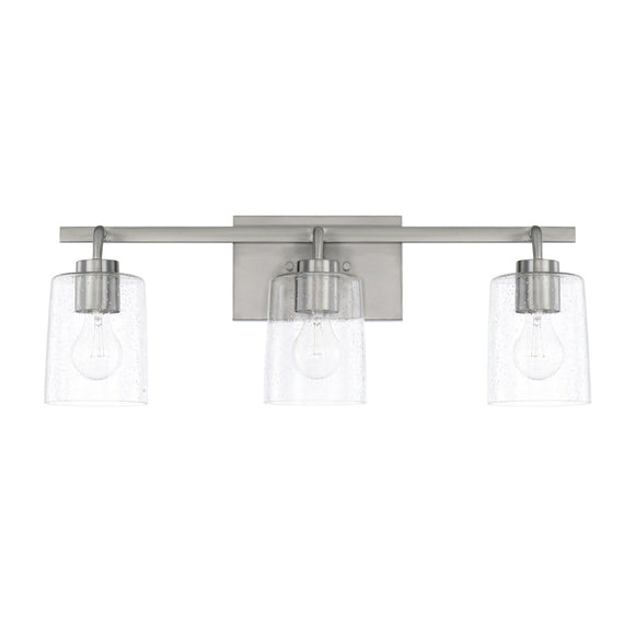 Capital Lighting Greyson Three Light Vanity Fixture 128531BN-449 Coastal Lighting