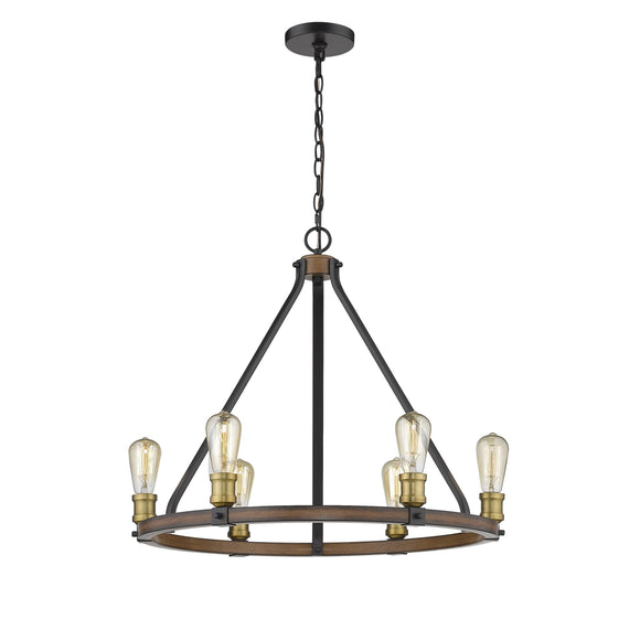 Z-Lite Kirkland 6 Light Chandelier 472-6RM Rustic Mahogany Coastal Lighting