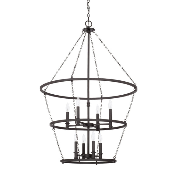 Capital Lighting Lancaster Eight Light Foyer Chandelier 528781BI Coastal Lighting