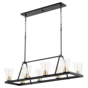 Quorum Paxton 8 Light Linear Chandelier with Glass - NR/AGB 83-8-6980 Coastal Lighting