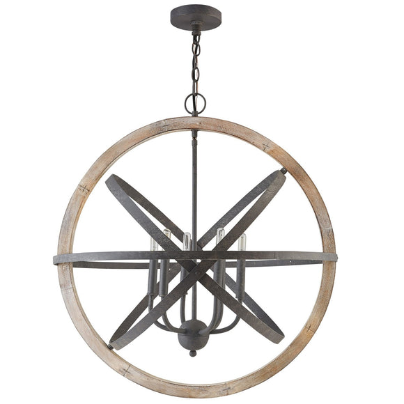 Capital Lighting Six Light Pendant 330561IW Coastal Lighting