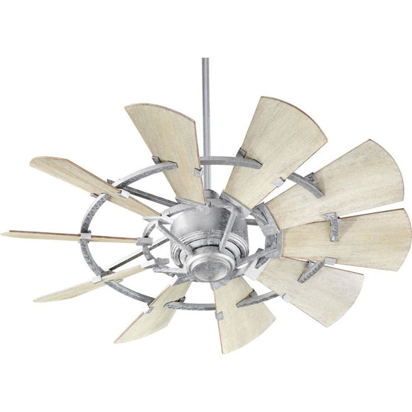 Quorum Windmill Ceiling Fan - Galvanized - Outdoor 194410-9 44 inch Coastal Lighting