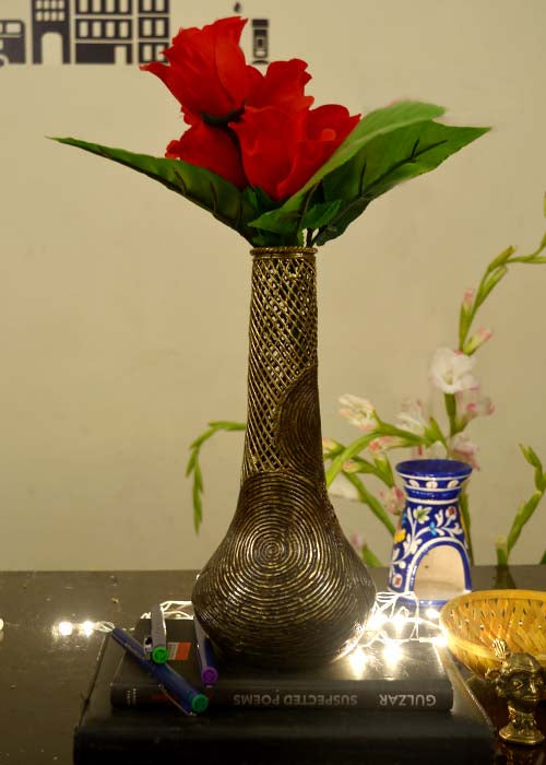 Dhokra (Lost Wax Metal Casting) Brass Flower Vase ... & Dhokra Beautiful Brass Flower Vase \u2013 Handmade Global