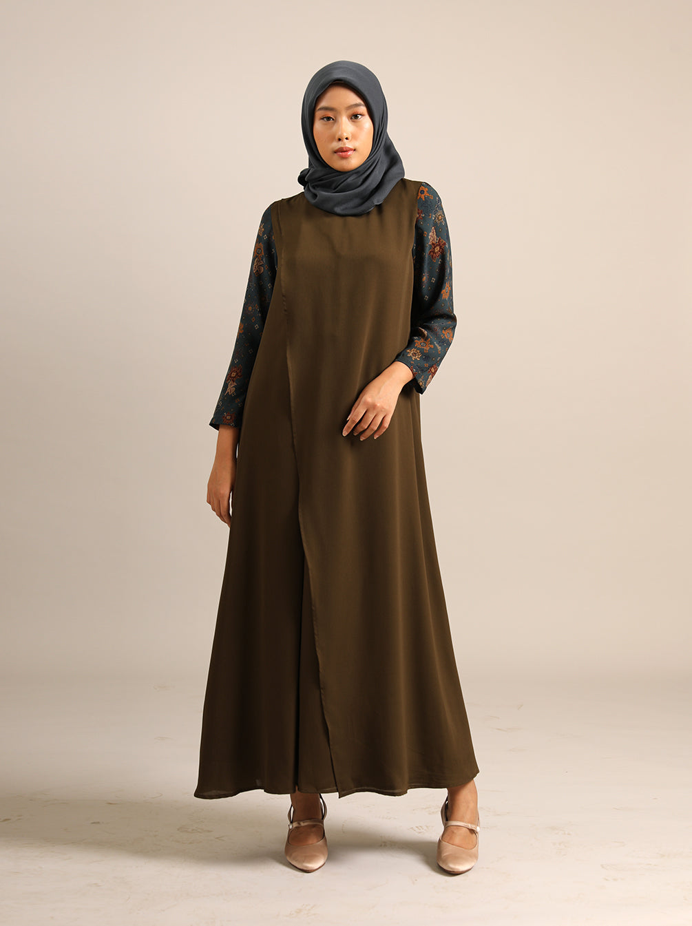 GAMILA BREASTFEEDING DRESS TEAL OLIVE