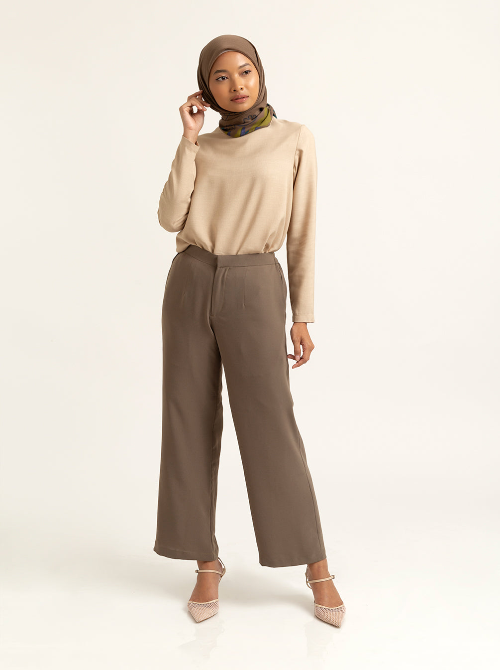 ADELLA PANTS PLAIN CHIVE