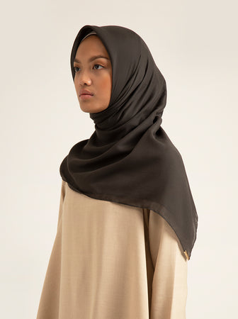 AIRY VOAL SCARF PLAIN LIGHT CHARCOAL