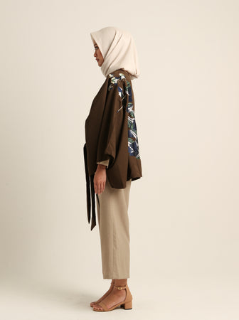 AZKA OUTER WITH EMB OLIVE