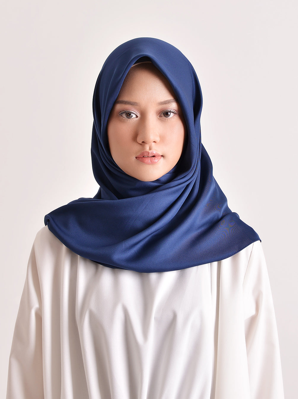 VOAL SATEEN SCARF DARK BLUE