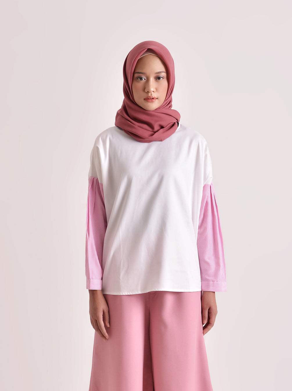 GEMPI TOP STRIPED WHITE PINK