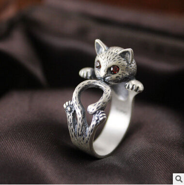 Cute cat Thai silver 925 sterling silver