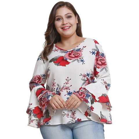 Bell Sleeve Floral Print Blouse eprolo