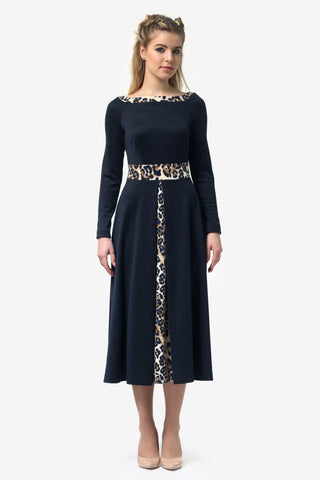 Boat Neck Navy Blue Dress - ktd-fashion.myshopify.com