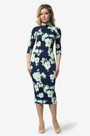Turtleneck Blue Floral Print Dress - ktd-fashion.myshopify.com