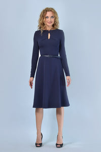 Navy Blue A Line Dress - ktd-fashion.myshopify.com