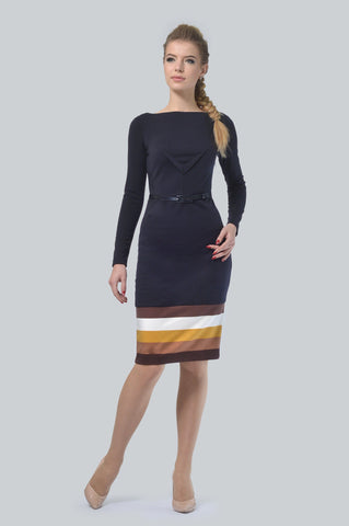Navy Blue Belted Dress - ktd-fashion.myshopify.com