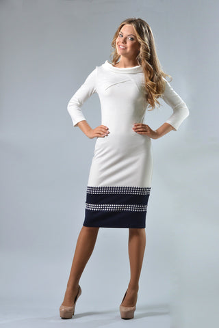 Blue White Sheath Dress - ktd-fashion.myshopify.com