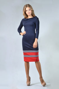 Blue & Red Sheath Dress - ktd-fashion.myshopify.com