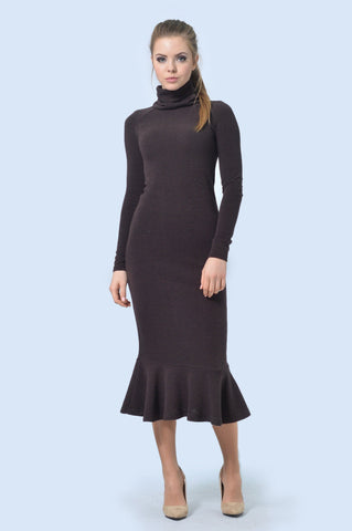 Brown Ruffle Hem Turtleneck Dress - ktd-fashion.myshopify.com