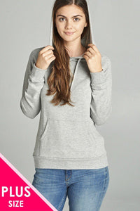 Long Sleeve Pullover French Terry Hoodie Top W/ Kangaroo Pocket - ktd-fashion.myshopify.com