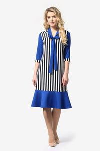 Multi Blue Bow Tie Dress - ktd-fashion.myshopify.com