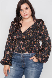 Plus Size Floral V-neck Ruffle Long Sleeve Top - ktd-fashion.myshopify.com