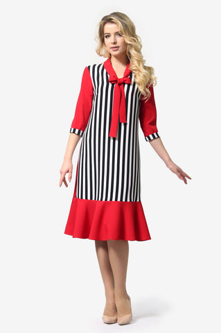 Red Multi Bow Tie Dress - ktd-fashion.myshopify.com