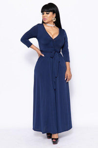 Solid, V-neck Maxi Dress - ktd-fashion.myshopify.com
