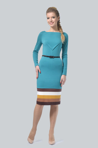 Turquoise Belted Dress - ktd-fashion.myshopify.com