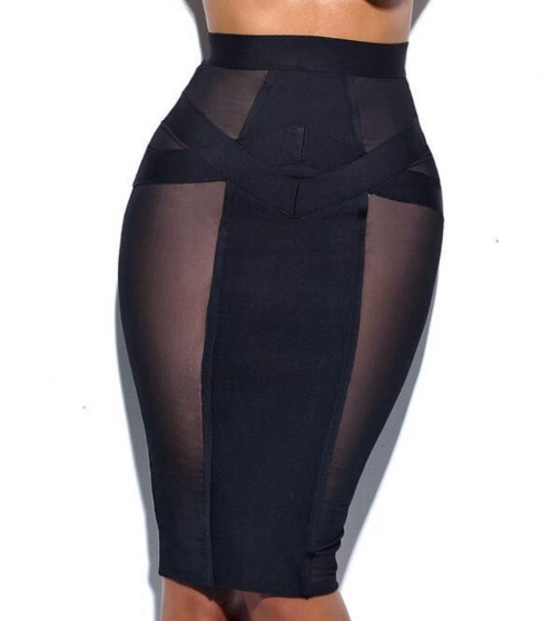 Black Mesh Bandage Skirt