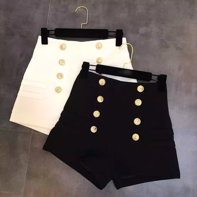 Double Breasted High Waist Shorts