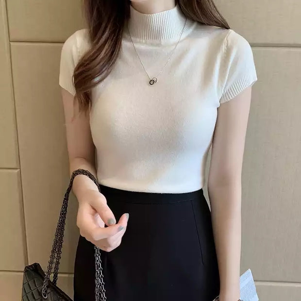Knit Short sleeve Turtleneck