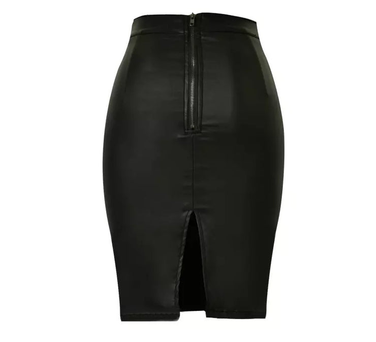 Faux Leather Stretch Skirt