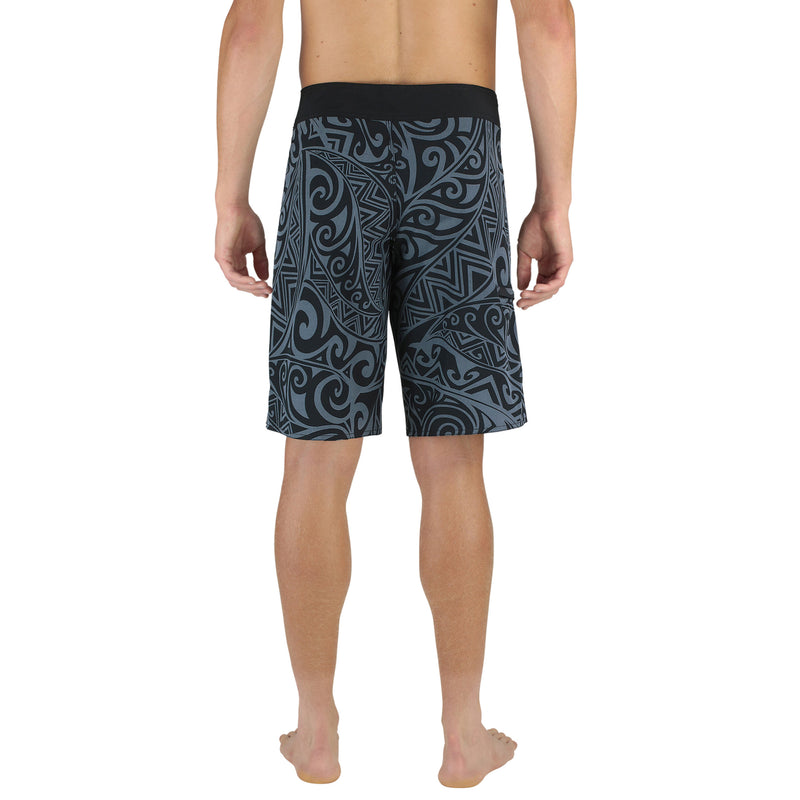 "22"" EXTRA LONG BOARDSHORTS, POLYNESIAN TRIBAL PRINT, BLACK & GRAY, MODEL BACK"