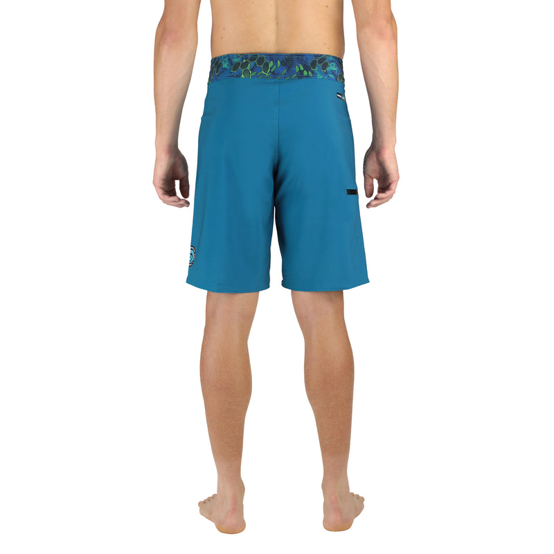 "Abyss 20"" Men's Boardshorts in Aqua, Quick Drying Stretch Swimwear, Model Back"
